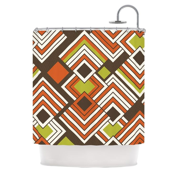 "Kess InHouse Jacqueline Milton ""Luca - Coffee"" Brown Orange Shower Curtain"