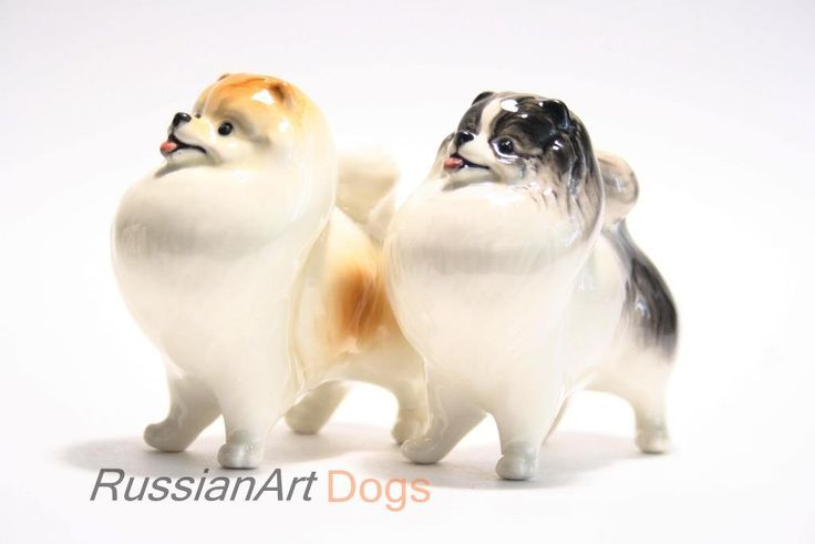 Pomeranian dog porcelain figurine handmade statuette by RussianArtDogs on Etsy