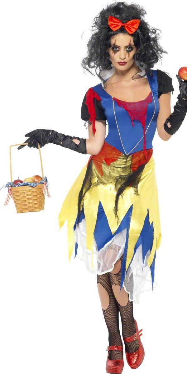 Kauhea Lumikki. Tämä naamiaisasu on jonkinverran homssuisempi versio perinteisestä prinsessan asusta ja asiaankuuluvalla maskeerauksella muuttuu kerrassaan kammottavaksi.