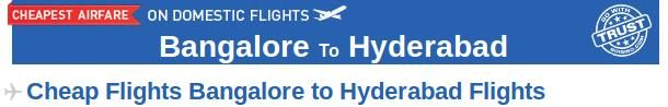 Book your Bangalore to Hyderabad flight tickets through Goibibo.com at affordable prices. There are many airlines which provide connecting flight from Bangalore to Hyderabad like Silkair, Jet Airways, Jetlite etc. The cheapest airfare from Bangalore to Hyderabad in the next 30 days is Rs. 3424 for spicejet flight on Dec. 6, 2013. So, check the flight status for this route and book your air tickets.