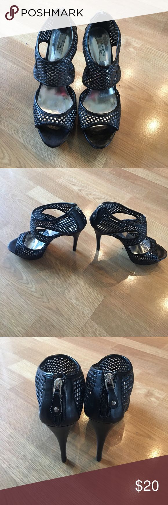Simply Vera Vera Wang Heels Simply Vera Vera Wang Heels. These are very comfortable and have only been worn once. The heel is 5 inches and the platform at the bottom is 1 inch. Simply Vera Vera Wang Shoes Heels