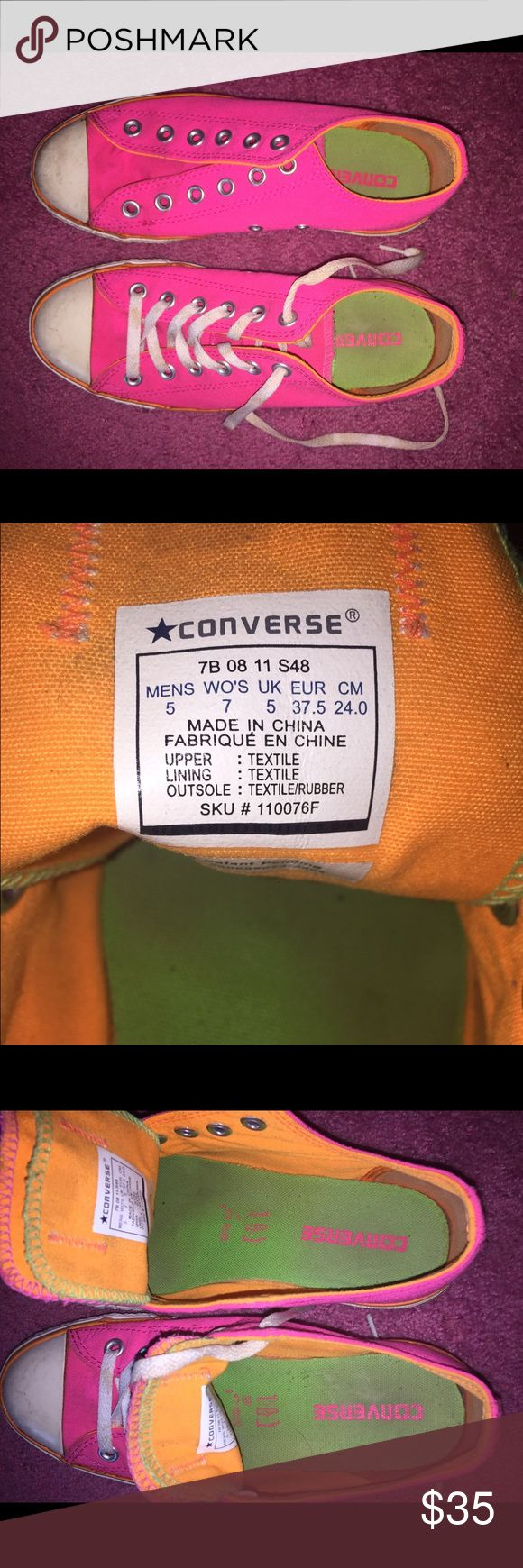 Neon Converse Chuck Taylor All Stars Reposted. Never worn by me. Can wash before selling. Great condition. Only one shoelace! Converse Shoes Sneakers