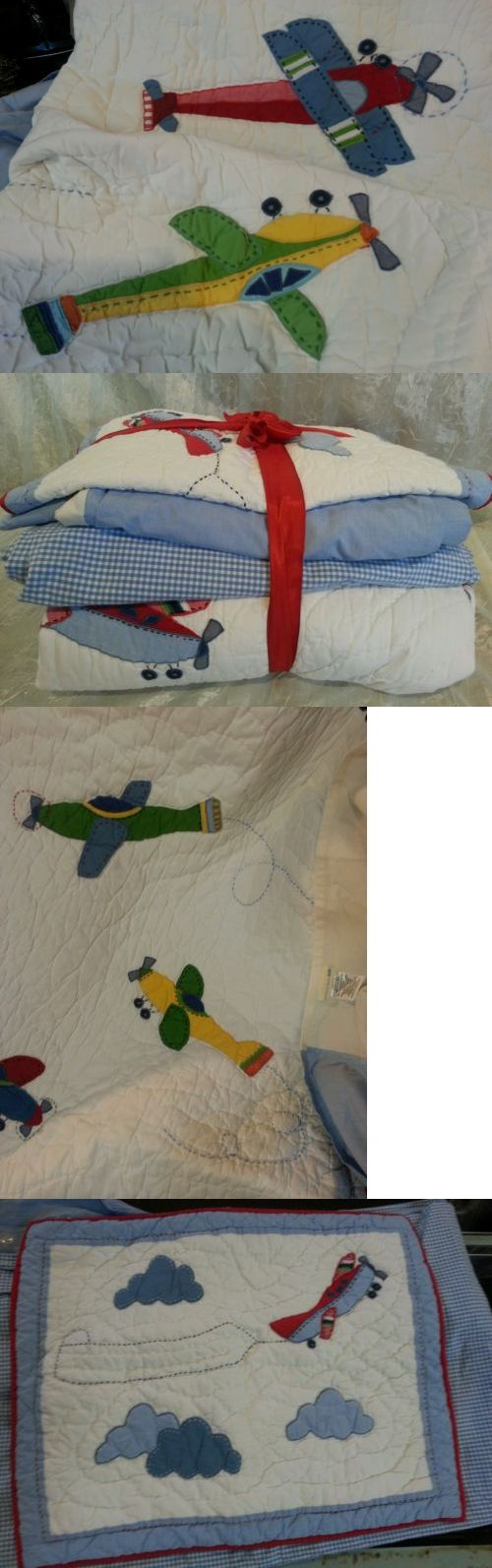 Pottery Barn Twin Kids Airplane 4 Pc Quilt Duve