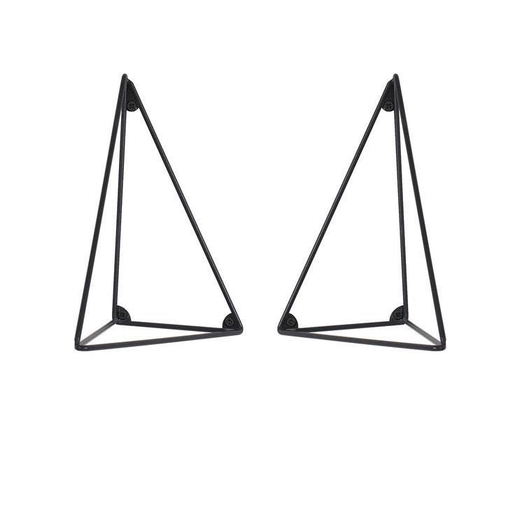 Set de 2 équerres pour étagère Pythagoras - Noir - Maze - Dans un salon, une chambre, un bureau ou même une cuisine, rangez tous vos objets préférés avec cette création au look contemporain ! Le plus ? Les équerres de l'étagère s'orientent dans plusieurs sens pour offrir une version personnalisée !