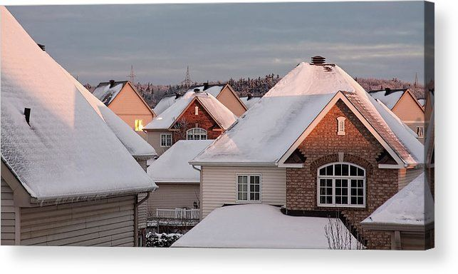 White December Rooftops Acrylic Print  by Tatiana Travelways #snow #winter #december #roofs #canada