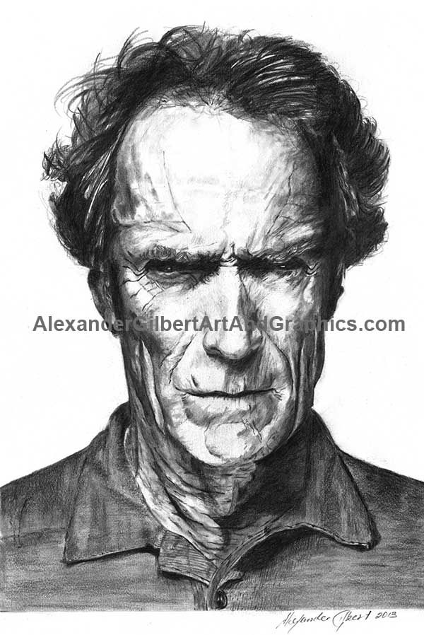 Client Eastwood celebrity artwork by Alexander Gilbert.  Buy prints here: http://fineartamerica.com/featured/clint-eastwood-pencil-alexander-gilbert.html
