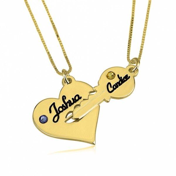 Conjunto Llave y Corazón con Swarovski Natal en plata chapada en Oro de 24K - Joyas4You - Joyería personalizada - Joyas personalizadas