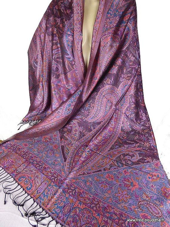 ZIJDEN sjaal stal pruim blauwe SJAAL chique boho zijden sjaal