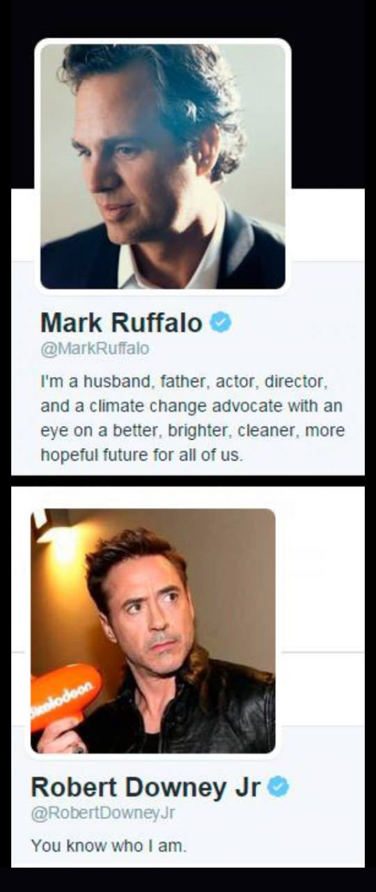 Difference between Mark and Robert. Marvel. Avengers. The science bros. they actually are banner and stark