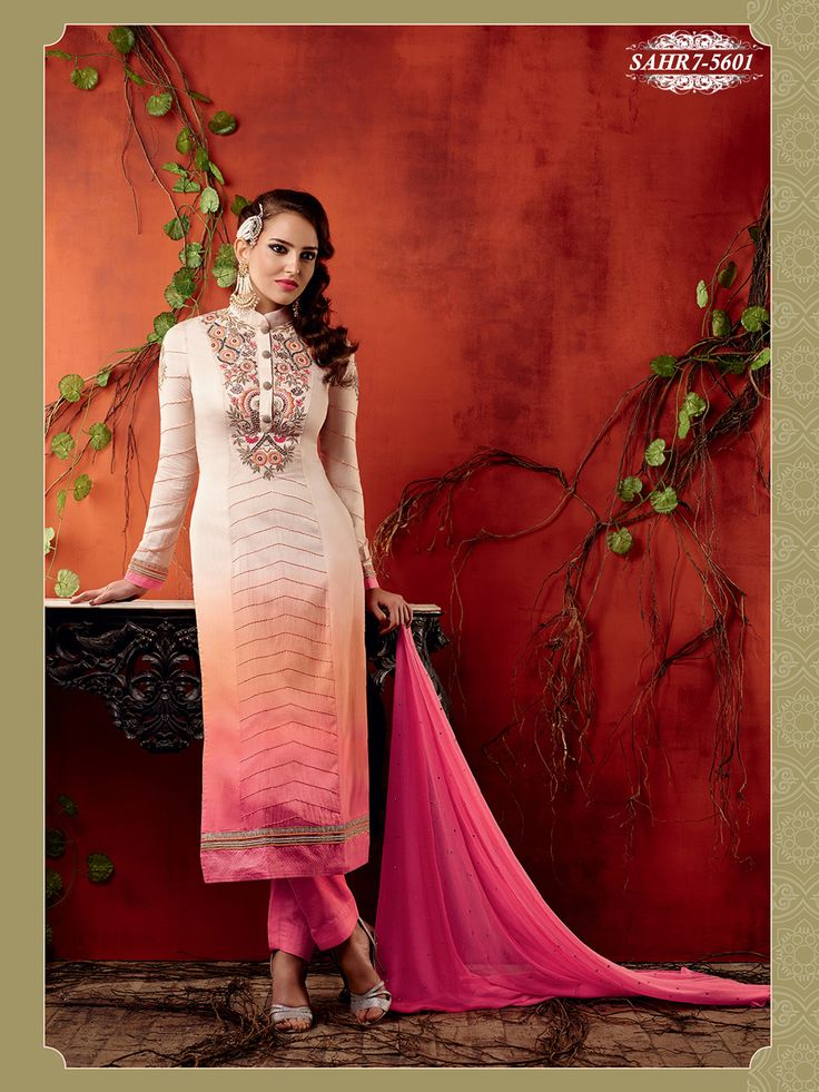 Shonaya Cream & Pink Colour Chiffon Embroidery Semi Stitched salwar Suit