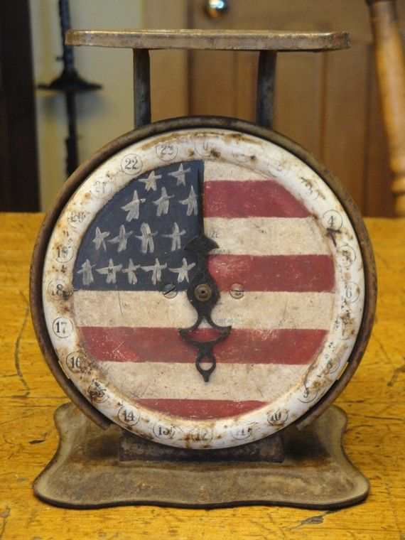 American flag on a vintage scale - I would love to have this or find a scale so I can do it myself.