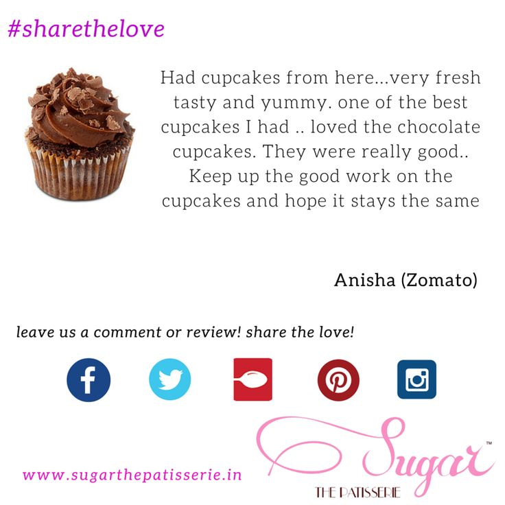 #sharethelove Anisha tells us why she thinks the cupcakes at Sugar are the best! You can also review us on Zomato and get featured here,  or leave us a comment right here. Go on, share the love! http://bit.ly/1KJ6wD9 #sugarthepatisserie  #mumbaieats #zomato #happyclient #cupcake #maltedchocolate #maltedchocolatecupcake
