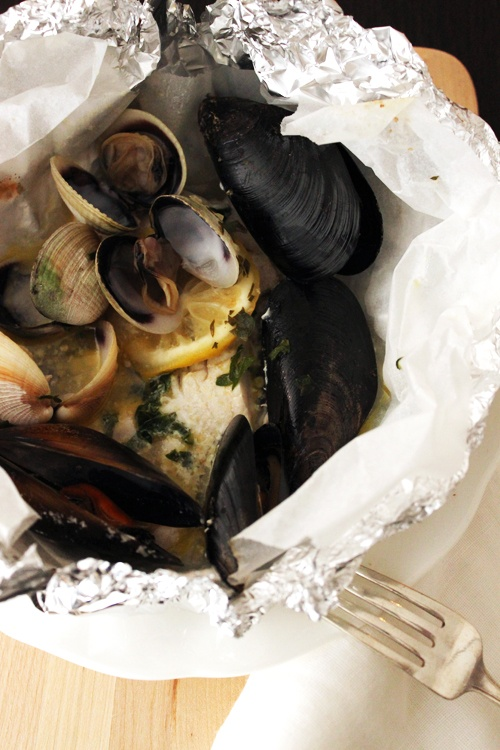 pink snapper, mussels and clams al cartoccio from foodonpaper