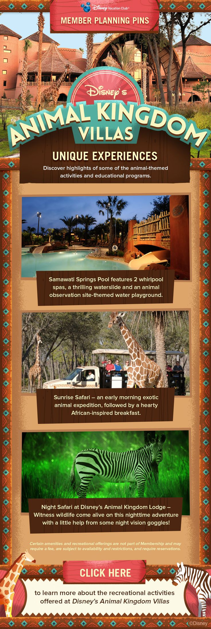 Plan your next Disney Vacation Club vacation to Disney's Animal Kingdom Villas with our helpful Member Planning Pin showing what unique experiences are available at the Resort. Did you know the Resort offers a Sunrise Safari and a Night Safari to Guests? Or perhaps swimming in one of the feature pools is your kind of vacation. Click to learn more!