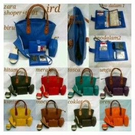 Paket Tas Shopper Anyam + Pouch + HPO + Wedges