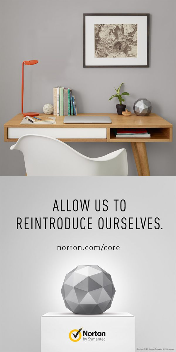 Three things your inspired workspace design needs – inviting seating, statement décor that shows off your style, and the new Norton Core. Delivering on style and security the Norton Core is the secure WiFi router for your connected home. Designed to be beautiful from every angle and in two fresh colors: Granite Gray and Titanium Gold.