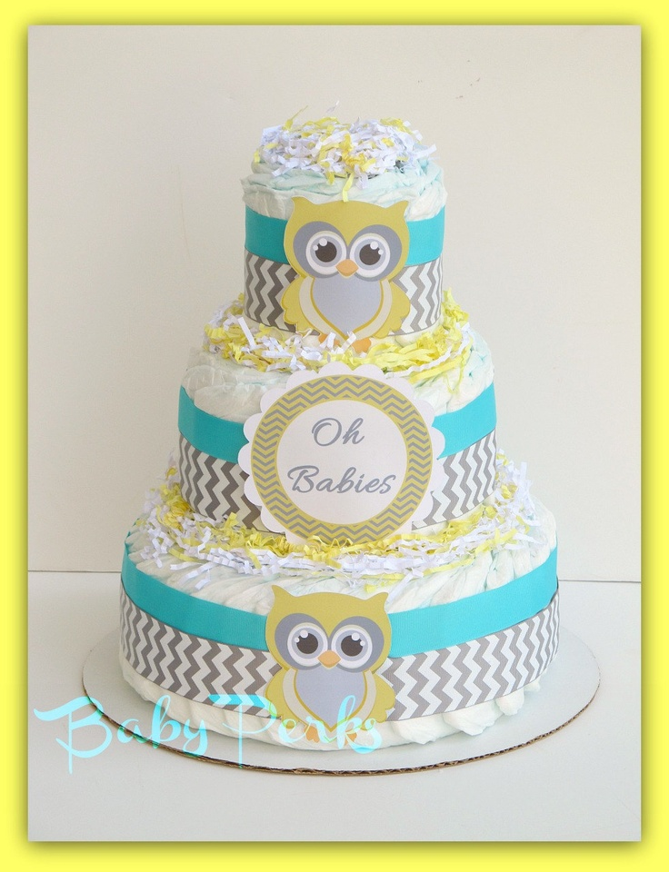 Aqua and Yellow , Turquoise Baby Shower , Gender Neutral Baby Shower , Owl Diaper Cake , Baby Shower Decorations. $49.00, via Etsy.