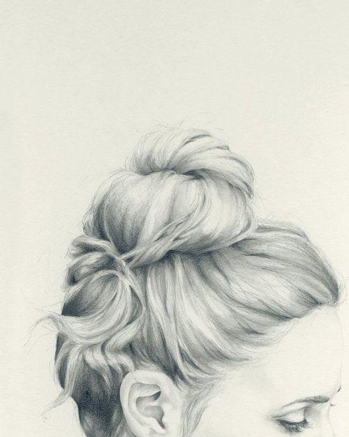 Just Pencil. #art #drawing #detail #shading #girl #bun