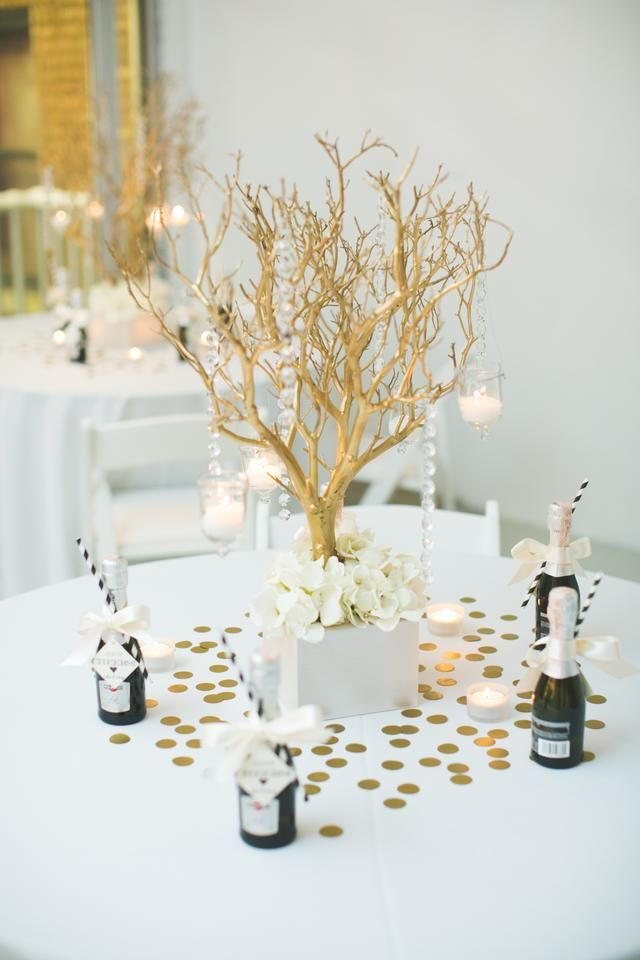 Gold Manzanita Branch Centerpiece Rustic Wedding
