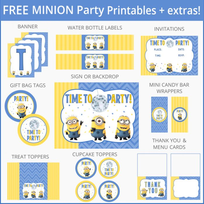 Free Minion Party Printables + Extras                                                                                                                                                      More