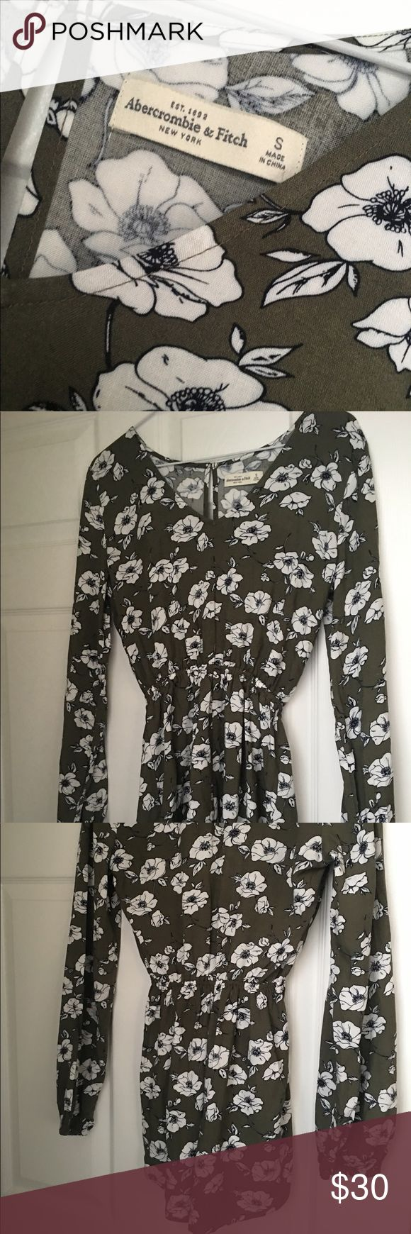 Abercrombie and Fitch romper Super cute olive green abercrombie and Fitch romper with floral patterns. Never worn. New with tags! Buttons in the back at neck to close! Lightweight and adorable :) Abercrombie & Fitch Dresses Midi