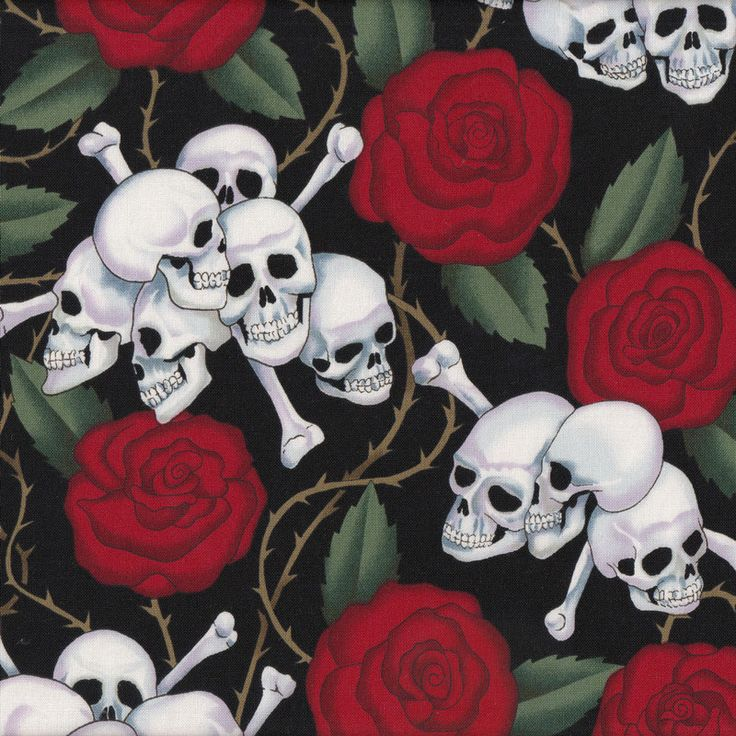 Skulls and Red Roses on Black Quilt Fabric - Find a Fabric - Available to purchase in Fat Quarters, Half Metre, 3/4 Metre, 1 Metre and so on.