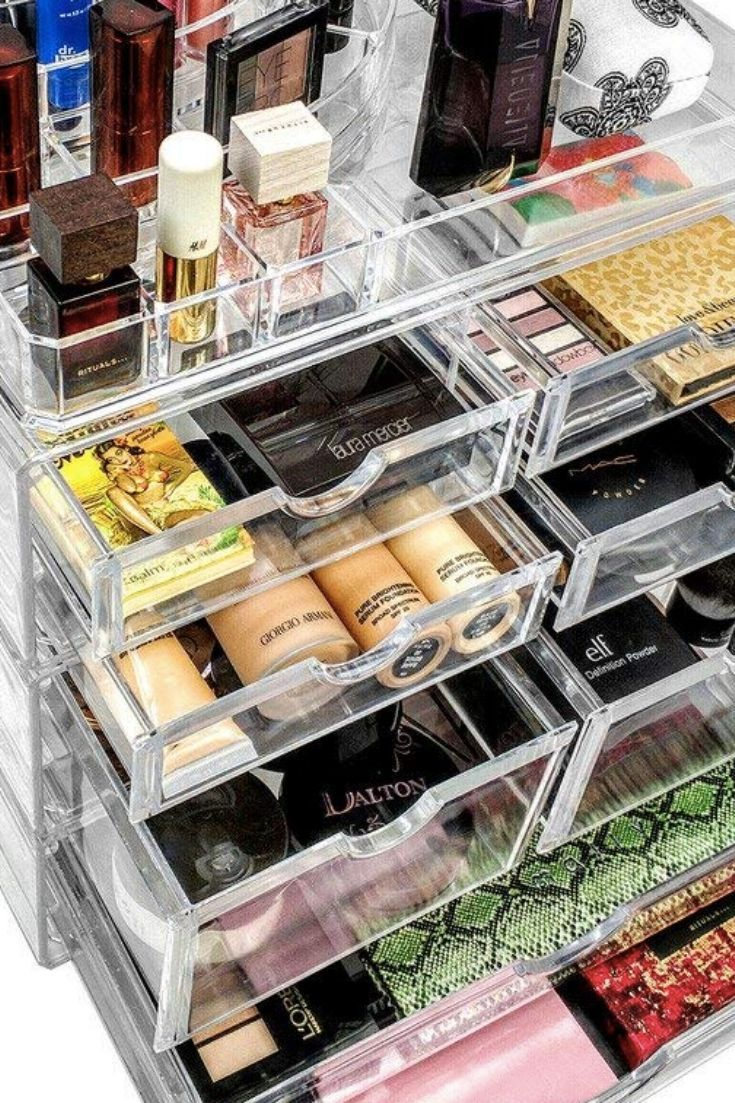 No More Digging For Makeup With These Clear Acrylic Makeup Storage Units Acrylic Makeup Storage Makeup Storage Units Makeup Storage