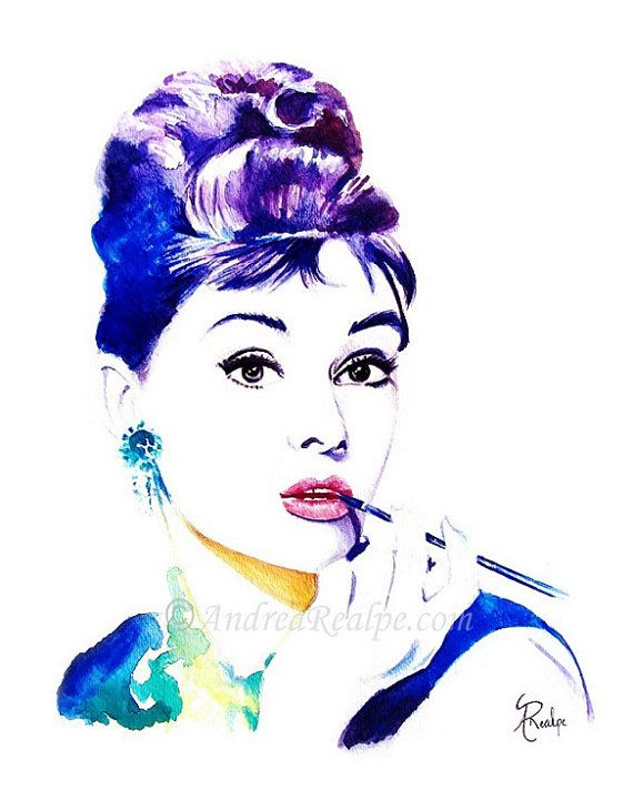 Watercolor Illustration Audrey Hepburn Print by AngyPaints on Etsy
