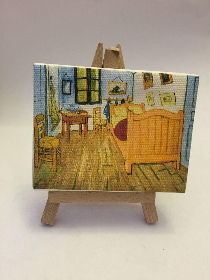 Miniatura Quadro 9x7 Cm Van Gogh   La Camera Di Vincent Ad Arles  Su Cavalletto