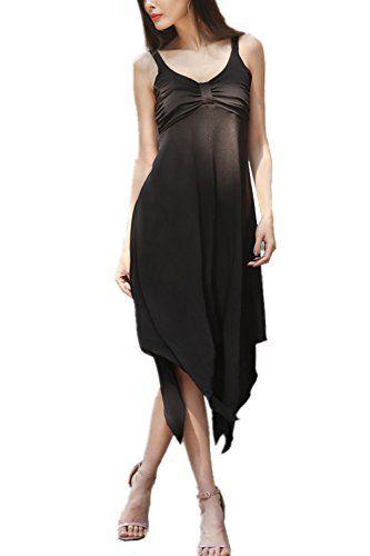 4bf1c4a888e9a Monissy Femme Robe à Bretelle sans Manches Col V Dos Nu Robe de Plage  Cocktail Haut