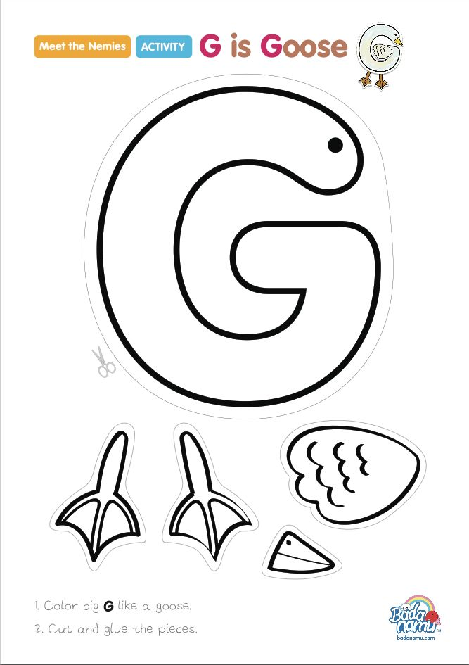 'G is Goose' craft! A whole craft series to go with our Meet the Nemies video series available at badanamu.com. Enjoy!