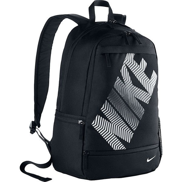 Nike Classic Line Backpack ($35) ❤ liked on Polyvore featuring bags, backpacks, black, school & day hiking backpacks, strap bag, rucksack bag, strap backpack, black bag and pocket bag