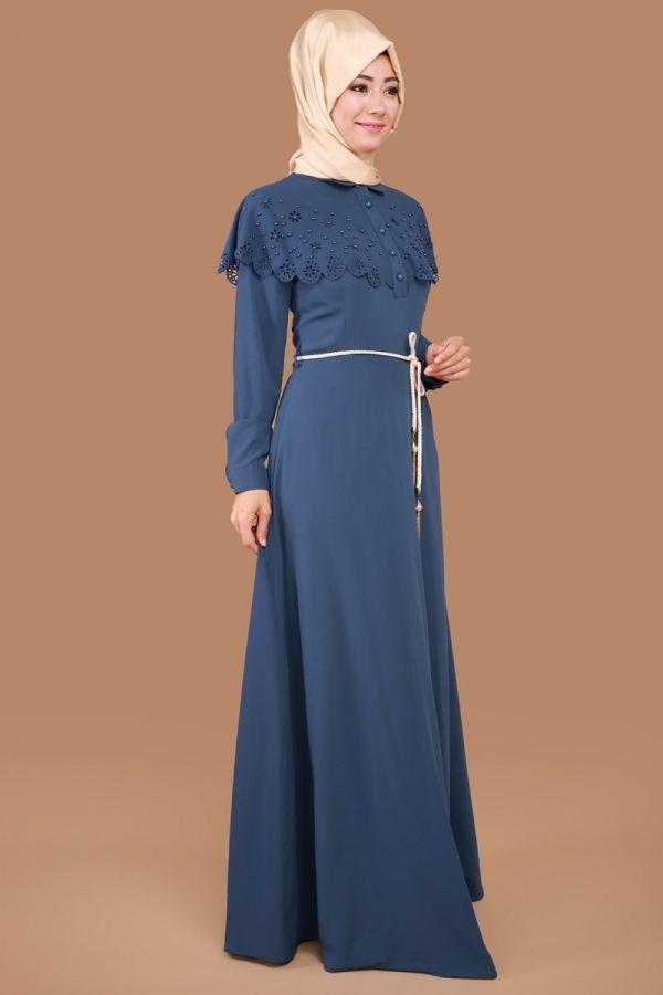 Pelerini İnci Detay Elbise İndigo Ürün Kodu: MDH6440 --> 109.90 TL