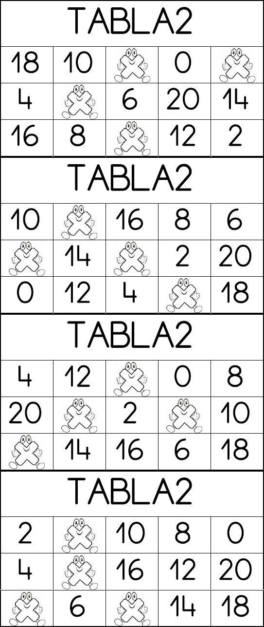 Bingo Multiplicar tabla del 2
