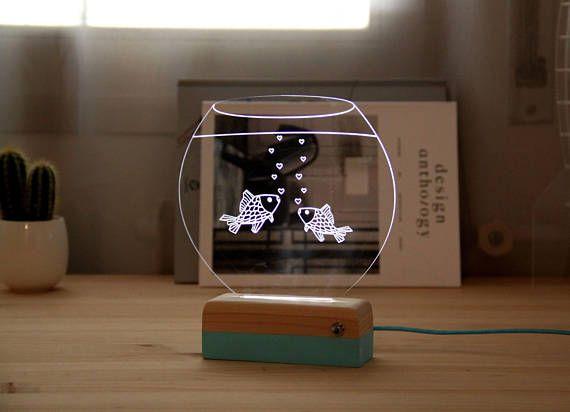 Pez piloto jar / / idea de regalo / / lámpara del led / 3D