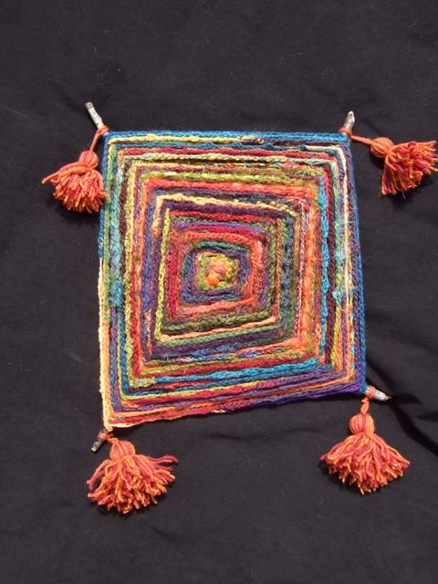 """""""Rainbow Ojo de Dios"""". Repinned by Libby VanBuskirk on """"Weaving & Art Teaching Ideas: In New England we call these weavings """"God's eyes."""" Start with four sticks and wind from the Center. I was amazed to discover that objects made like this were found with other paraphernalia in Late Intermediate (before the Incas) graves in North Coast, Peru."""