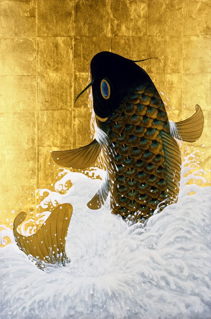 Jumping Carp painting by Muramasa Kudo. Acrylic on gold leaf, part of his new series.   Kudou Muramasa (1948-)  工藤村正