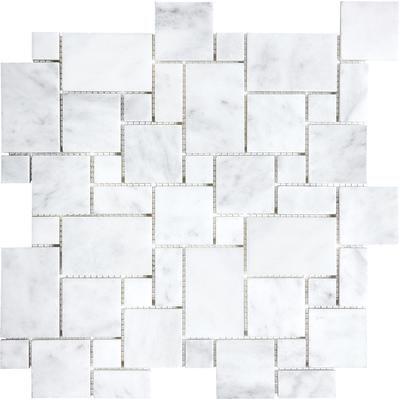 Anatolia - Polished Bianco Venatino Mini Versailles Mosaics - 76-261 - Home Depot Canada