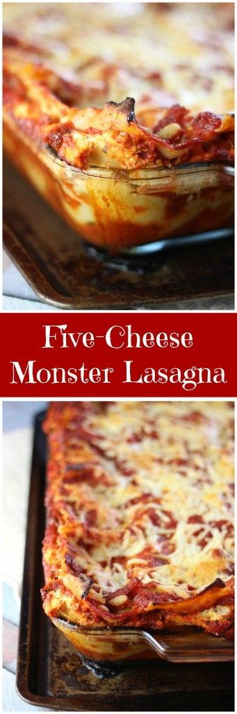 A meaty lasagna recipe with goat cheese, mozzarella, Parmesan, ricotta, and cottage cheeses!