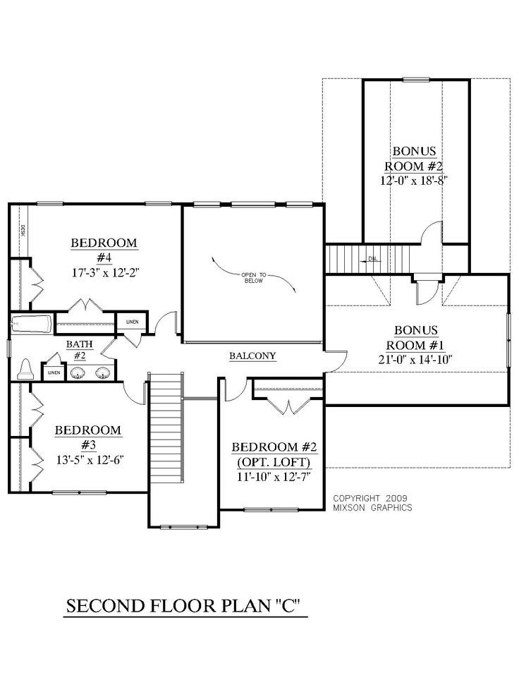 House plan 2657 c longcreek c second floor traditional for Upstairs plans