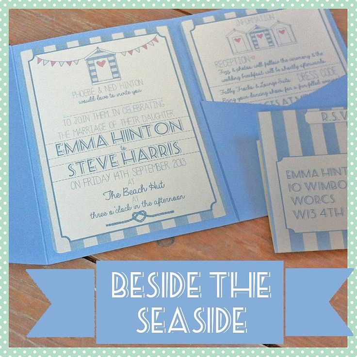 pocketfold beach hut wedding invitation by lovely jubbly | notonthehighstreet.com for seaside weddings, beach hut weddings and coastal themes. Lovely stationery for your big day by the sea...