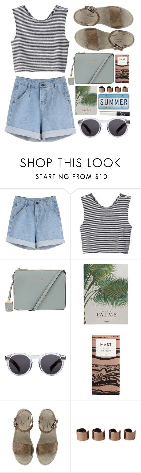"""waiting for summer"" by rosiee22 ❤ liked on Polyvore featuring Monki, DKNY, Taschen, Illesteva, Maison Margiela and NARS Cosmetics"