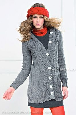 9ba88fd794c7 Dlouhý svetr s kapucí a čelenka