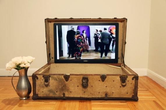trunk with a tv embedded inside the lidRedesign Steamer, Vintage Trunks, Television Stand, Eclectic Media, Media Storage, Master Bedrooms, Tv Stands, Steamer Trunks, Vintage Suitcas
