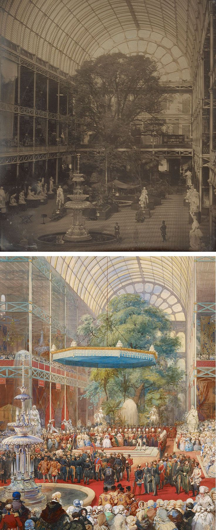Opening of the Great Exhibition, Eugène Louis Lami, 1851. Royal Collection Trust, UK. The Crystal Palace at Hyde Park, London (detail), John Jabez Edwin Mayall, 1851. J. Paul Getty Museum