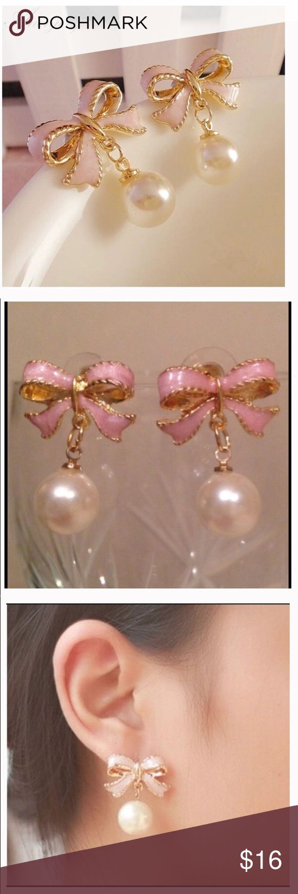 Girls Pink Enamel & Pear Drop Earrings High Quality Delicate Gold Color Pink Drops Of Oil Butterfly Bow Knot Pearl Stud Earrings For Women queenesthershop Accessories Jewelry
