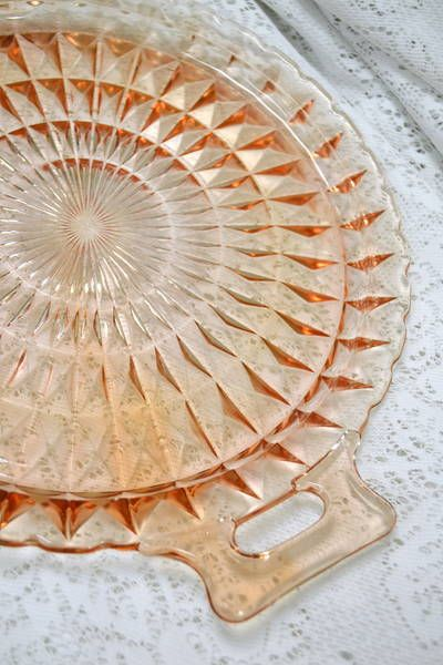 "Jeannette Cubist Pink Depression Glass Handled Cake Plate - Lovely for Afternoon Tea Treats - 12.5"" Diameter"