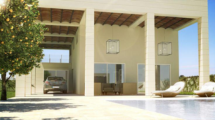 Medio día con luz blanca global. Infoarquitectura de un chalet en Huelva diseñado por Ar-arquitectos.