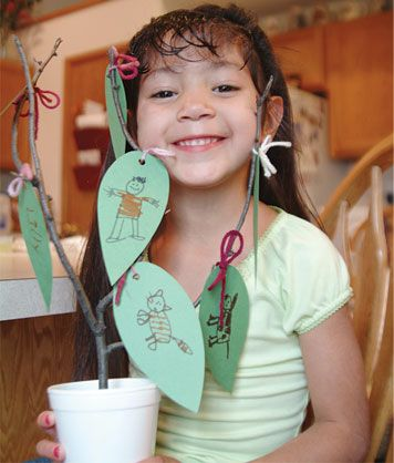 This hands-on activity helps instill appreciation for families. Using small twigs and a few other items, each child can make a personalized family tree.