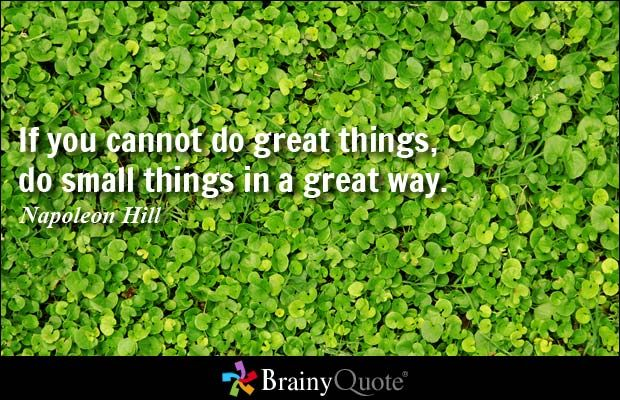 If you cannot do great things, do small things in a great way. - Napoleon Hill